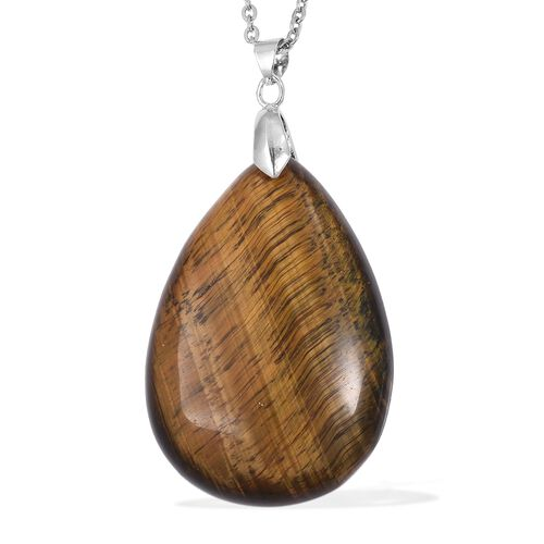 Tigers Eye (Pear) Drop Pendant With Chain (Size 24) in Stainless Steel 95.000 Ct.