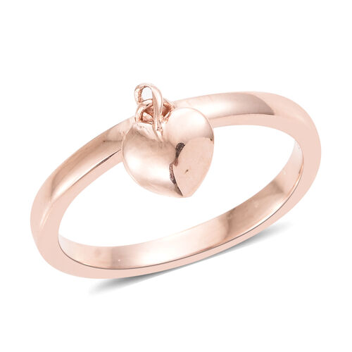 Rose Gold Overlay Sterling Silver Band Ring with Heart Charm