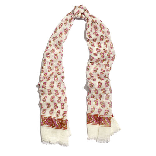 One Time Close Out Deal- Special Edition- White,Violet and Green Colour Handblock Printed Scarf (Size 190x75 Cm)