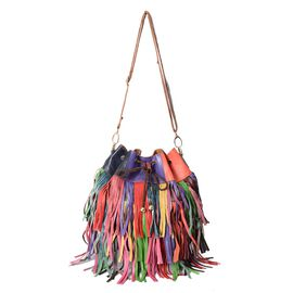 100% Genuine Leather Tesseled Bucket Bag (Size 26x18x30 Cm) with Detachable Shoulder Strap - Multico