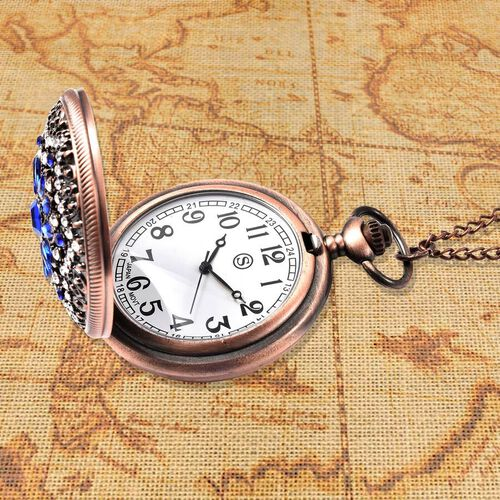 STRADA Japanese Movement Simulated Blue Sapphire, White Austrian Crystal Flower Pattern Pocket Watch with Chain (Size 31) in Antique Rose Gold and Black Plated