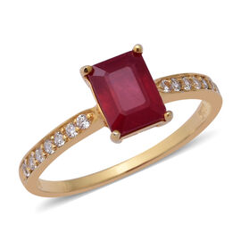 African Ruby (Oct), Natural White Cambodian Zircon Ring in Yellow Gold Overlay Sterling Silver 2.790