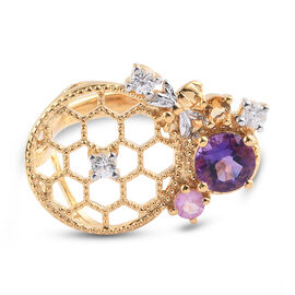 GP Italian Garden Leaf and Flower - Amethyst, Pink Sapphire and Multi Gemstone Ring in 14K Gold Over