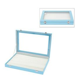 150 Slot Ring Box with Acrylic Window and Anti Tarnish Lining Trinket Jewellery Organiser - Sky Blue