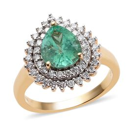 ILIANA 18K Yellow Gold AAA Boyaca Colombian Emerald and Diamond (SI/G-H) Ring 1.78 Ct, Gold wt 7.00