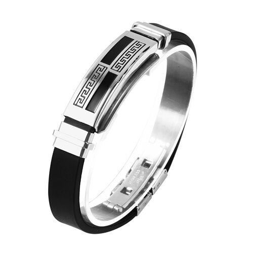 Mens Bracelet in Stainless Steel Greek Key 7.5 Inch