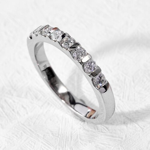 RHAPSODY 950 Platinum IGI Certified Natural Diamond (VS/E-F) Eternity Band Ring 0.50 Ct, Platinum wt. 4.45 Gms
