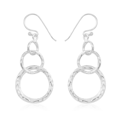 Vicenza Collection- Designer Inspired Sterling Silver Hook Earrings, Silver wt 4.30 Gms.