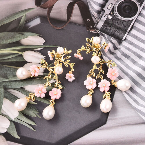 Jardin Collection - Pink Mother of Pearl, Freshwater Pearl, Hebei Peridot and Natural Cambodian Zircon Floral Earrings (with Push Back) in Yellow Gold Overlay Sterling Silver, Silver wt 6.76 Gms