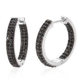 Boi Ploi Black Spinel (Rnd) Hoop Earrings in Platinum Overlay and Black Plating Sterling Silver 1.750 Ct, Silver wt 6.11 Gms., Number of Gemstone 120.