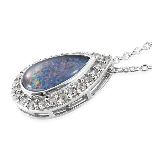 Australian Boulder Opal (Pear), Natural White Cambodian Zircon Pendant With Chain in Platinum Overlay Sterling Silver