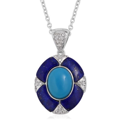 Arizona Sleeping Beauty Turquoise (Ovl 1.75 Ct),Lapis Lazuli and Natural White Cambodian Zircon Pendant with Chain in Rhodium Overlay Sterling Silver 3.700 Ct.