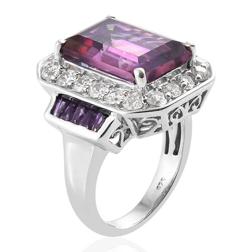 Lulaby Mystic Topaz (Oct 9.30 Ct), Natural Cambodian Zircon and  Amethyst Ring in Platinum Overlay Sterling Silver 11.750 Ct, Silver wt 6.72 Gms.