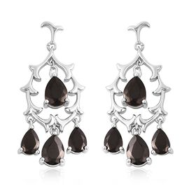 2.75 Ct Elite Shungite Chandelier Earrings in Rhodium Plated Sterling Silver 6.39 Grams