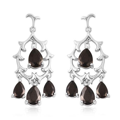2.75 Ct Elite Shungite Chandelier Earrings in Rhodium Plated Sterling Silver 6.39 Grams