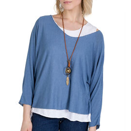 Made in Italy- NOVA of the London Long Sleeve Top in Denim Blue and White Colour (Size up to 16) wit