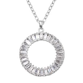Austrian White Crystal Circle of Life Pendant With Chain (Size 21 with 2 inch Extender) Silver Plate