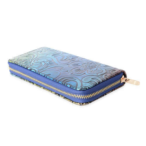 Multi Colour with Floral and Wave Desing Embossed Long RFID Wallet (19X10X2.5cm Large size phone can fit in)