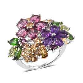 Amethyst (Pear), Rhodolite Garnet and Multi Gemstone Floral Ring in Platinum Overlay Sterling Silver