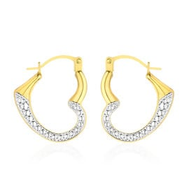 Italian Made 9K Yellow and White Gold Open Heart Hoop Earrings (with Clasp Lock)