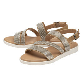 Lotus Olive Diamante Sling-Back Sandals - Nude