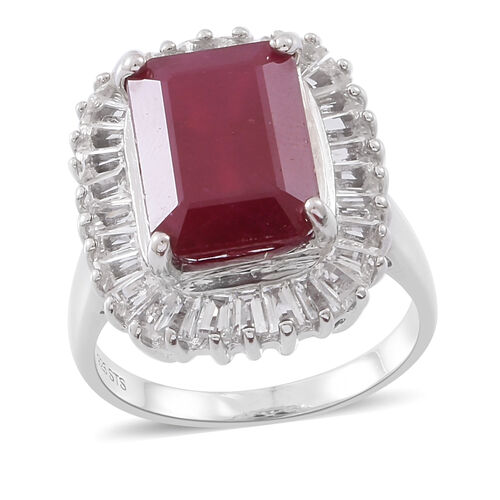 Limited Edition-Rare Size African Ruby (Oct 14x10 mm), White Topaz Ring in Rhodium Plated Sterling Silver 14.250 Ct. Silver wt 6.20 Gms.