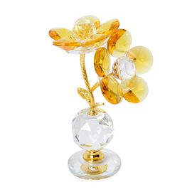 Home Decor -  Faceted Crystal Flower with Pot - Yellow and Gold