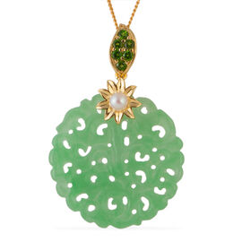 Carved Green Jade (Rnd), Freshwater Pearl and Russian Diopside Pendant with Chain (Size 18) in Verme