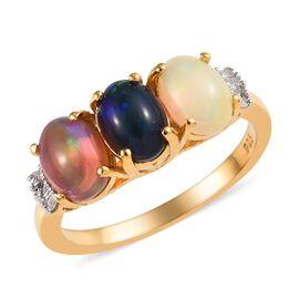 Multi Opal (Ovl 7x5 mm), Diamond Ring in 14K Gold Overlay Sterling Silver 1.65 Ct.