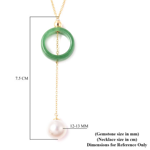 Green Jade and Edison Pearl Lariat Necklace (Size 18) in Yellow Gold Overlay Sterling Silver 32.50 Ct.