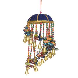 Christmas Decor - Beaded Strings with Bamboo Basket Peacock and Bells Wind Chime