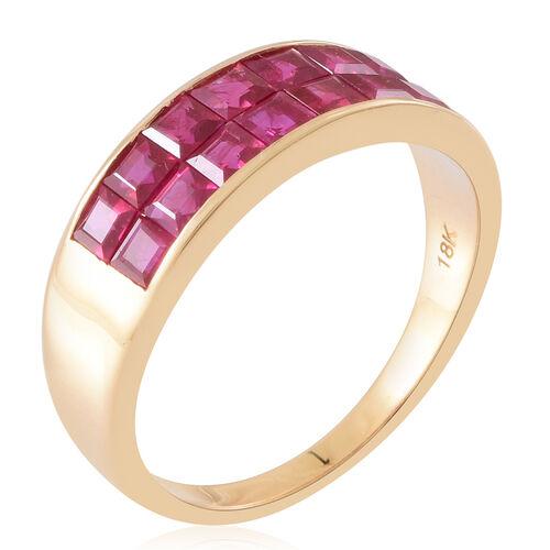 Signature Collection- ILIANA 18K Yellow Gold AAAA Princess Cut Burmese Ruby Ring 3.000 Ct.