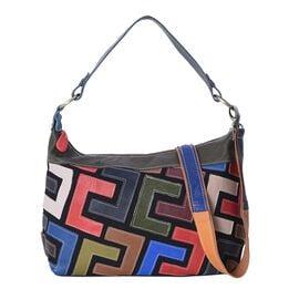 100% Genuine Leather Multi Colour Tote Bag with Detachable Shoulder Strap and Zipper Closure (Size 3