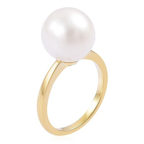 South Sea White Pearl (11-12mm) Solitaire Ring in Gold Plated Silver