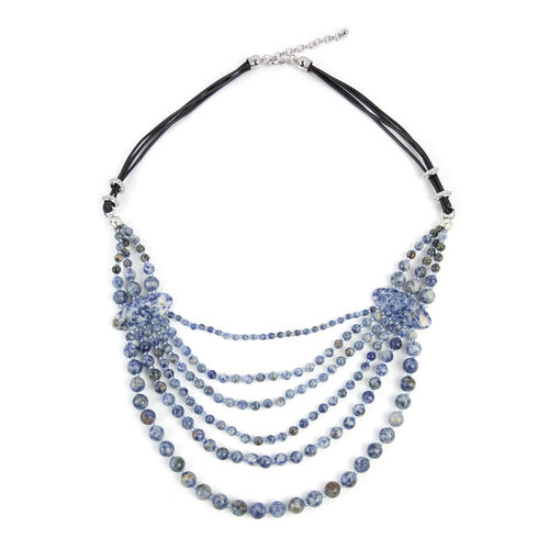 Sodalite (Rnd), Simulated Blue Sapphire BIB Necklace (Size 28 and 2.5 inch Extender) 690.000 Ct.