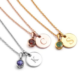 Personalised Engraved Birthstone and Initial Disc with 20Inch Chain in Silver