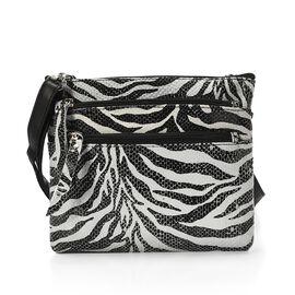 Close Out Deal 100% Genuine Leather Zebra Print Cross body Bag (Size 21x18 Cm)