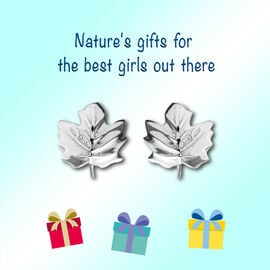 Maple Leaf Earrings for Kids in Sterling Silver