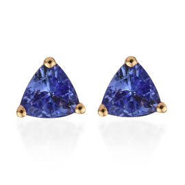 Tanzanite (Trl) Stud Earrings (with Push Back) in 14K Gold Overlay Sterling Silver 0.570 Ct.