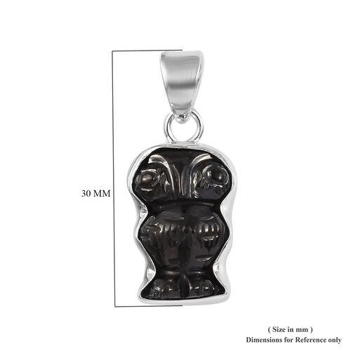 Shungite Owl Pendant in Sterling Silver 6.31 Ct.
