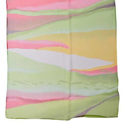 100% Mulberry Silk Green, Pink, Yellow and Multi Colour Water Pattern Scarf (Size 170x50 Cm)