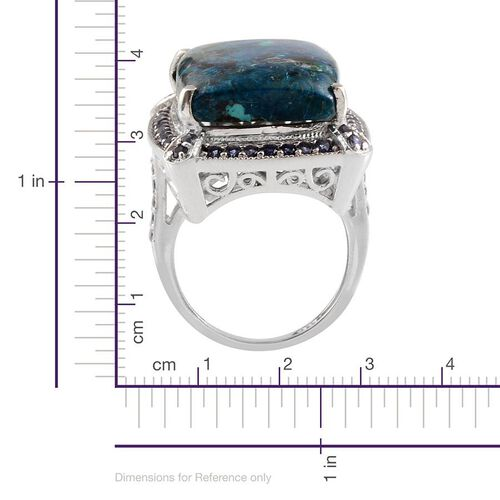 Table Mountain Shadowkite (Cush 19.50 Ct), Iolite Ring in Platinum Overlay Sterling Silver 23.500 Ct.