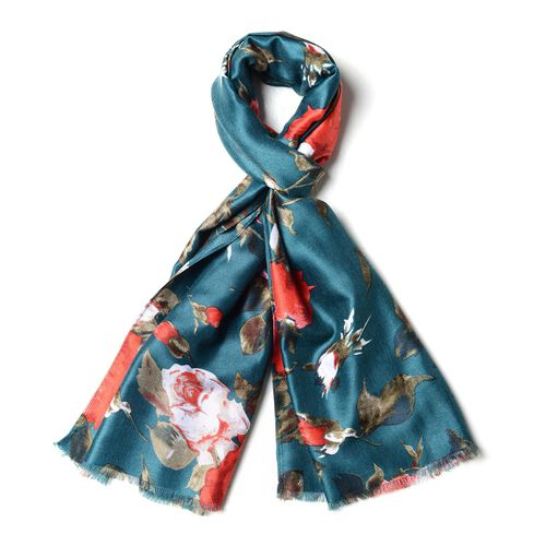 Designer Inspired- Green and Multi Colour Red and White Rose Pattern with Small Tassels Shawl (Size 180x88 Cm)