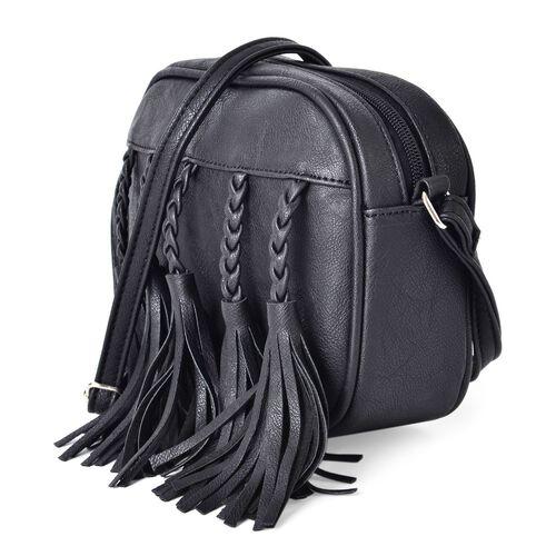 Black Colour Braided Tassels Design Crossbody Bag with Adjustable Shoulder Strap (Size 20x16x6.5 Cm)