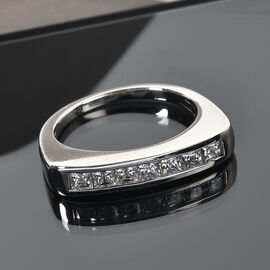J Francis Platinum Overlay Sterling Silver Ring Made with SWAROVSKI ZIRCONIA 1.22 Ct.