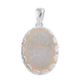 Pearl Shimmer Drusy Quartz (Ovl 18x13 mm) Pendant in Sterling Silver 8.000 Ct.