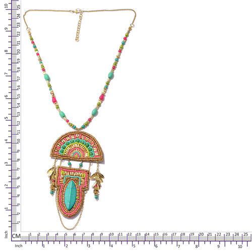 Tribal Style Multi Colour Beads & String Necklace (Size 22 with 2 Inch Extender) in Yellow Gold Plated