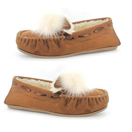Ella Paula Supersoft Moccasin Pom Pom Slipper in Chestnut Colour