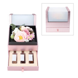 The 5th Season 2 Layer Flower Box With 3 Bottles Of Fragrance Spray - Pink
