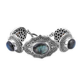 Royal Bali 51.53 Ct Labradorite Balinese Design Bracelet in Silver 36 Grams Size 7 to7.5 Inch